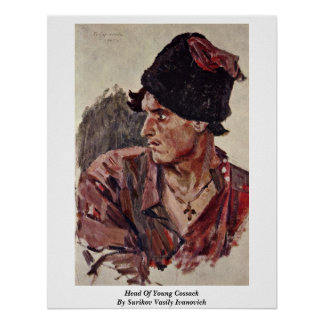 Head Of Young Cossack By Surikov Vasily Ivanovich Print