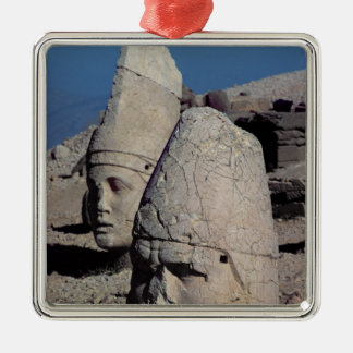 Head of Zeus-Oromandes and a goddess Square Metal Christmas Ornament