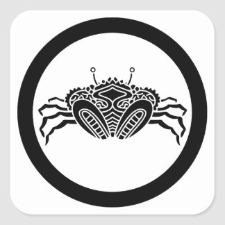 Head-on sea crab in circle square stickers