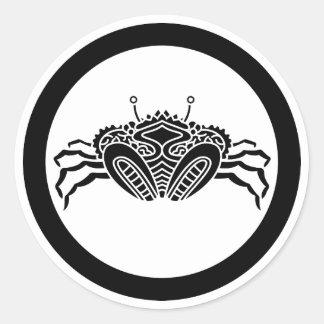 Head-on sea crab in circle sticker