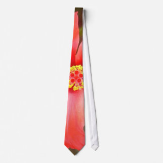 Head On Shot of a Red Tropical Hibiscus Flower Neck Tie