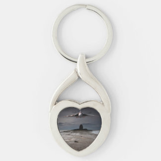 Head On Silver-Colored Heart-Shaped Metal Keychain