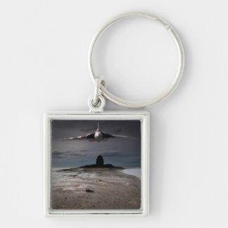 Head On Silver-Colored Square Keychain