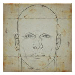 head on stained paper poster