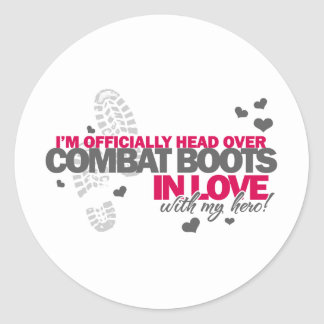 Head over Combat Boots Classic Round Sticker