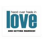 Head Over Heels Save the Date Postcard, Blue