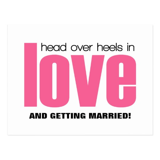 Head Over Heels Save the Date Postcard, Pink