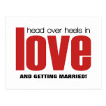 Head Over Heels Save the Date Postcard, Red