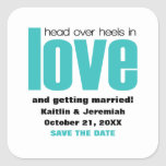 Head Over Heels Save the Date Stickers, Aqua