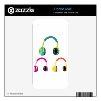 Head Phones Vector Decal For iPhone 4