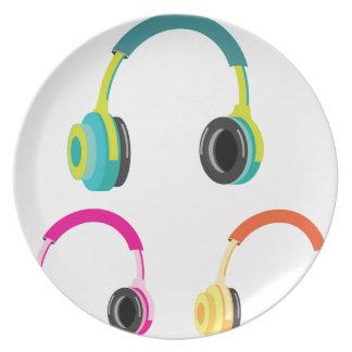 Head Phones Vector Dinner Plate