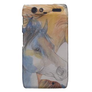 Head Portrait of Mustangs in Pastels Motorola Droid RAZR Covers