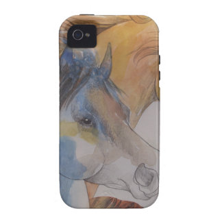 Head Portrait of Mustangs in Pastels Case-Mate iPhone 4 Cover