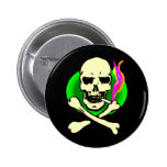 Head shop style skull and bones buttons