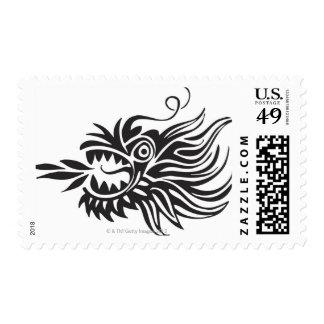 Head shot of dragon postage