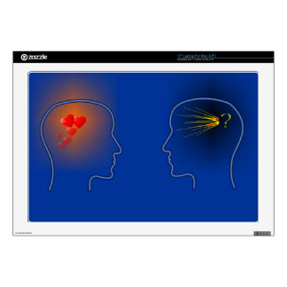 """Head Silhouettes with heards and flashes 17"""" Laptop Skins"""