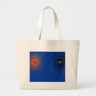 Head Silhouettes with heards and flashes Large Tote Bag