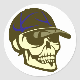 Head skull cap skull cap classic round sticker