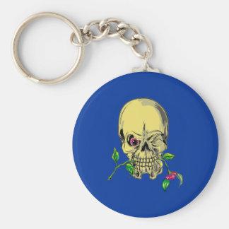Head skull flower skull more flower keychain