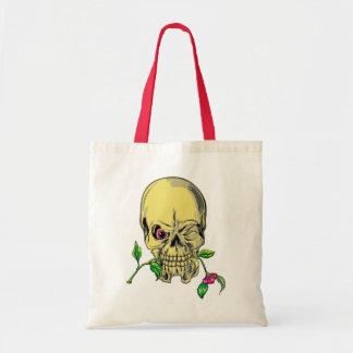 Head skull flower skull more flower tote bag