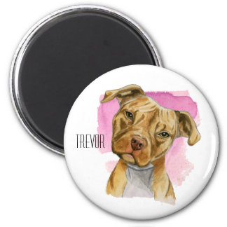 Head Tilt Pit Bull Dog Watercolor Painting Magnet