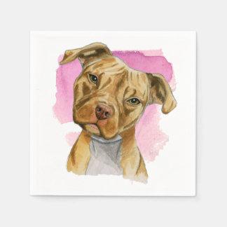 Head Tilt Pit Bull Dog Watercolor Painting Paper Napkin