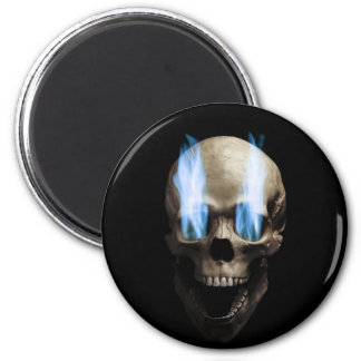 Head with blue flames 2 inch round magnet