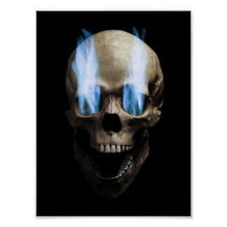 Head with blue flames poster