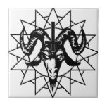 Head with Chaos Star (black) Ceramic Tiles