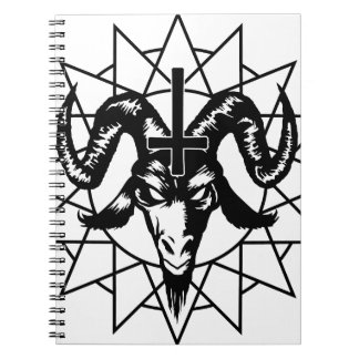 Head with Chaos Star (black) Spiral Notebook