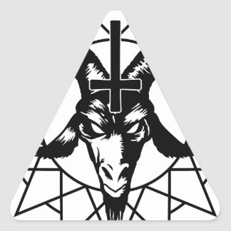 Head with Chaos Star (black) Triangle Sticker