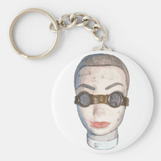 head with goggles keychain