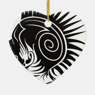 Head with Mohawk Ceramic Ornament