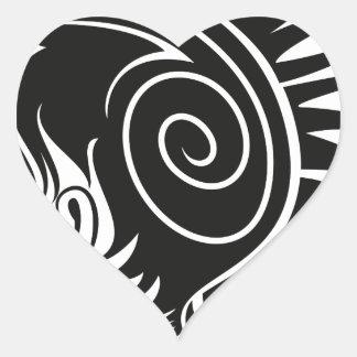Head with Mohawk Heart Sticker