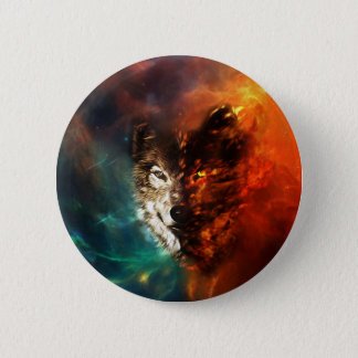 Head wolf -  fire wolf  - snow wolf - wolf art button