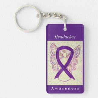 Headaches Awareness Ribbon Guardian Angel Keychain