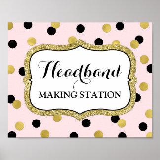 Headband Making Station Pink Black Gold Confetti Poster