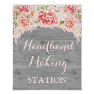 Headband Making Station Pink Watercolor Wood Poster