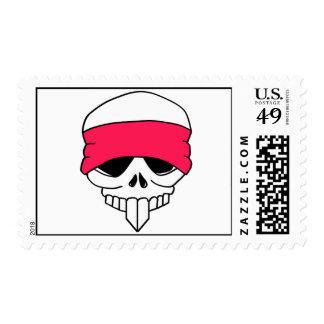 Headbanded Skull Postage Stamp