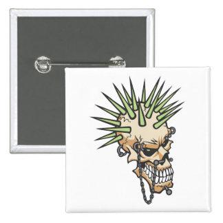 Headbangers Pierced Eyebrow Nose Skull Button