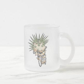 Headbangers Pierced Eyebrow Nose Skull Frosted Glass Coffee Mug