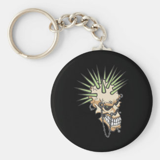 Headbangers Pierced Eyebrow Nose Skull Keychain