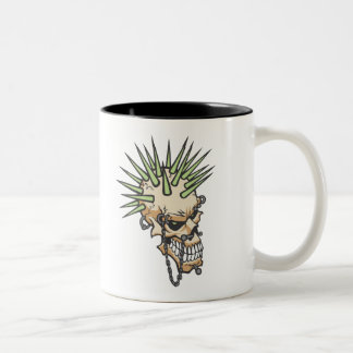 Headbangers Pierced Eyebrow Nose Skull Two-Tone Coffee Mug