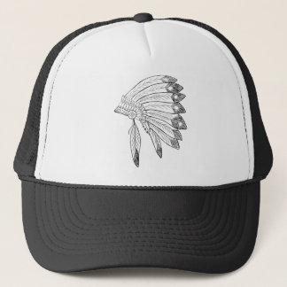 Headdress - Native American Illustration Trucker Hat