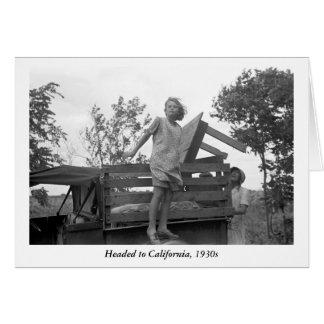 Headed to California, 1930s Card