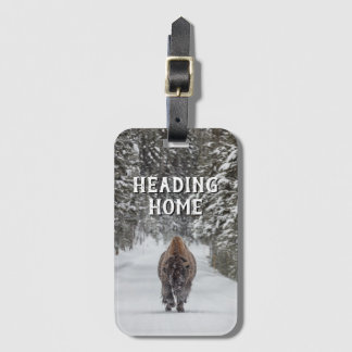 Heading Home Bison in the Snow Bag Tag