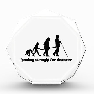 Heading straight for disaster acrylic award