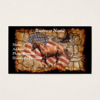 """""""Heading West"""" Horse, Eagle and US Flag Business Card"""