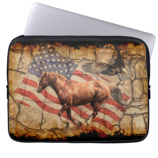 """Heading West"" Horse, Eagle and US Flag Laptop Sleeve"