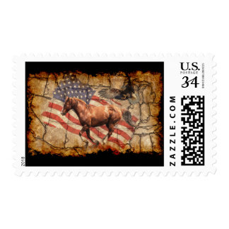 """""""Heading West"""" Horse, Eagle and US Flag Postage"""